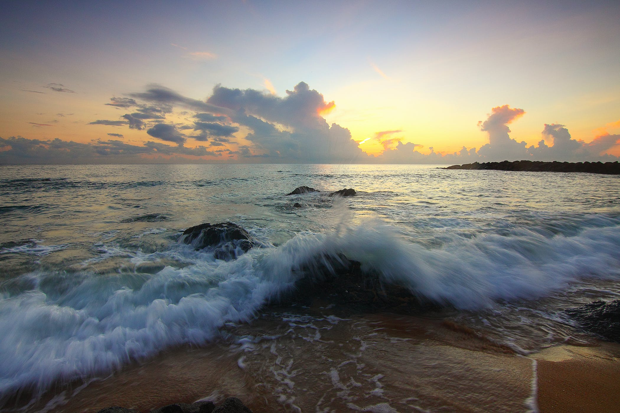 Crashing Sea Waves during Golden Hour