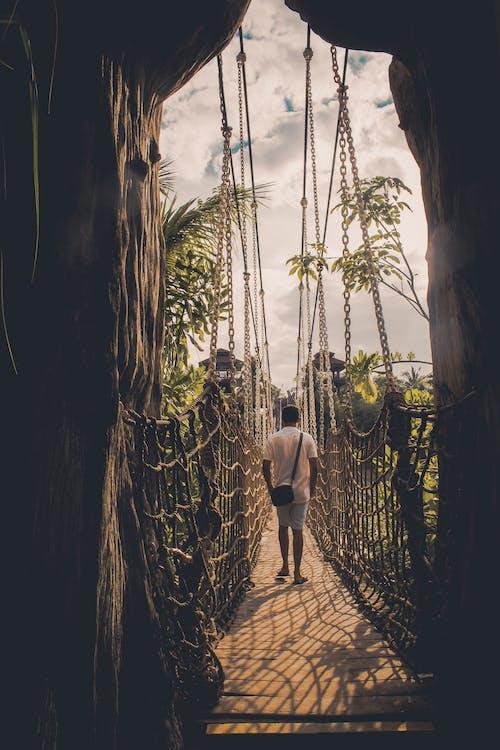Homem Caminhando Na Ponte Suspensa