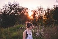 sunset, woman, summer