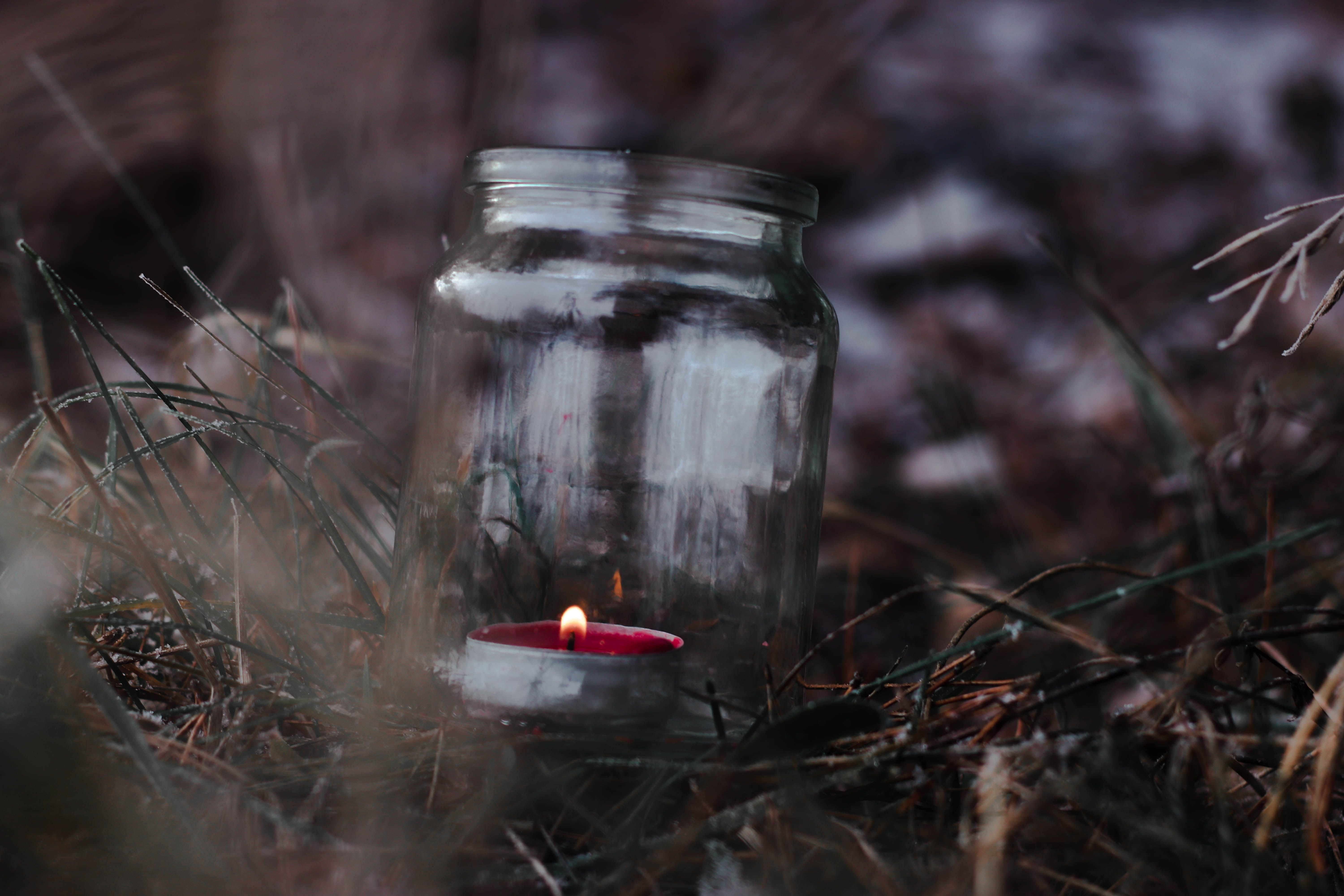 Lighted Red Tealight in Glass Mason Jar