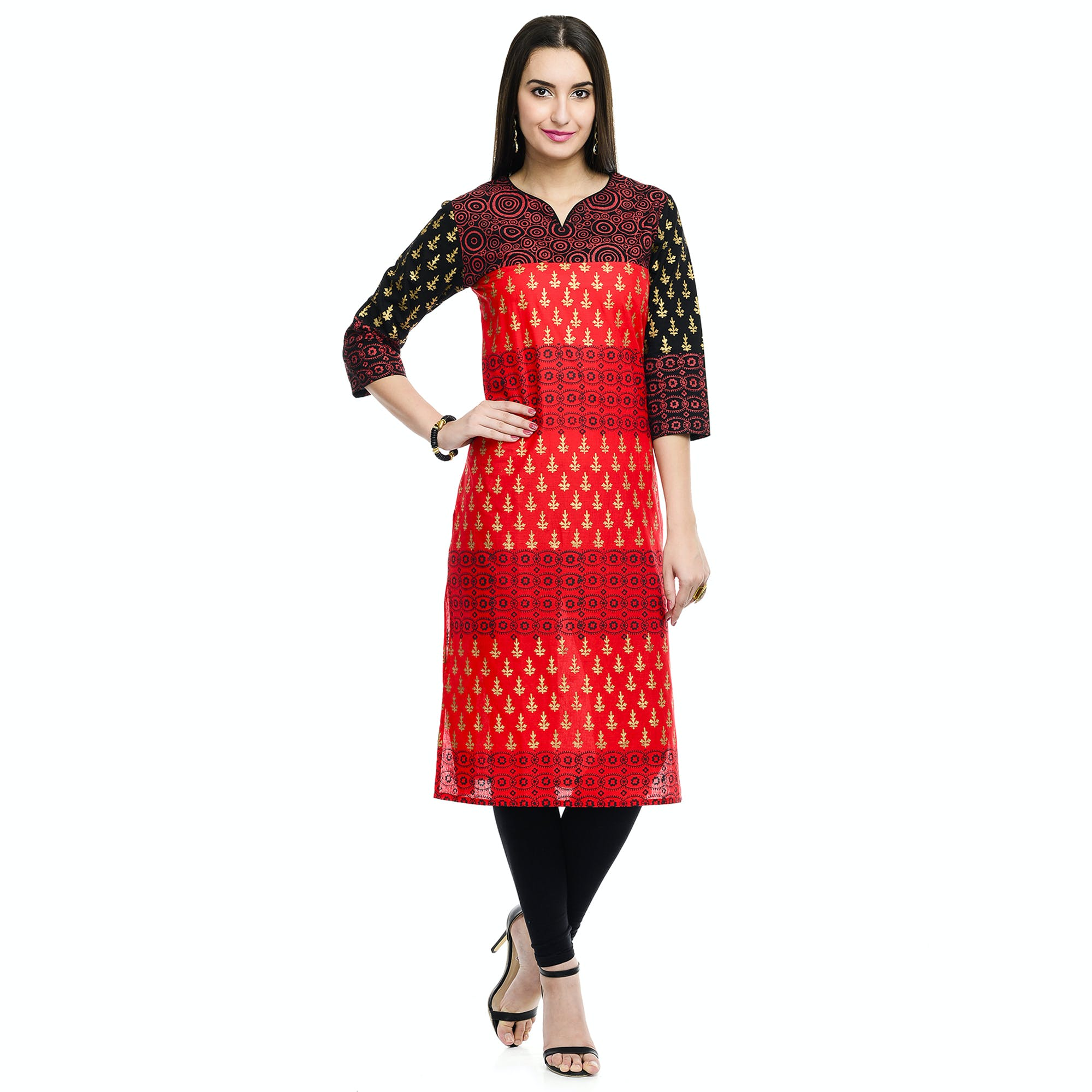 Woman in Red and Black 3/4 Sleeve Midi Dress