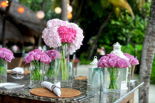 Pink Roses in Clear Glass Vases