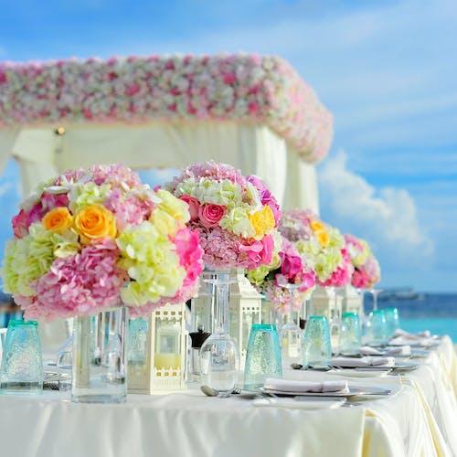 Kostenloses Foto Zum Thema Aufbau Fur Eine Hochzeit Blau Blumen