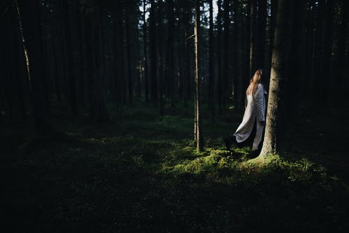Woman Standing In The Forest