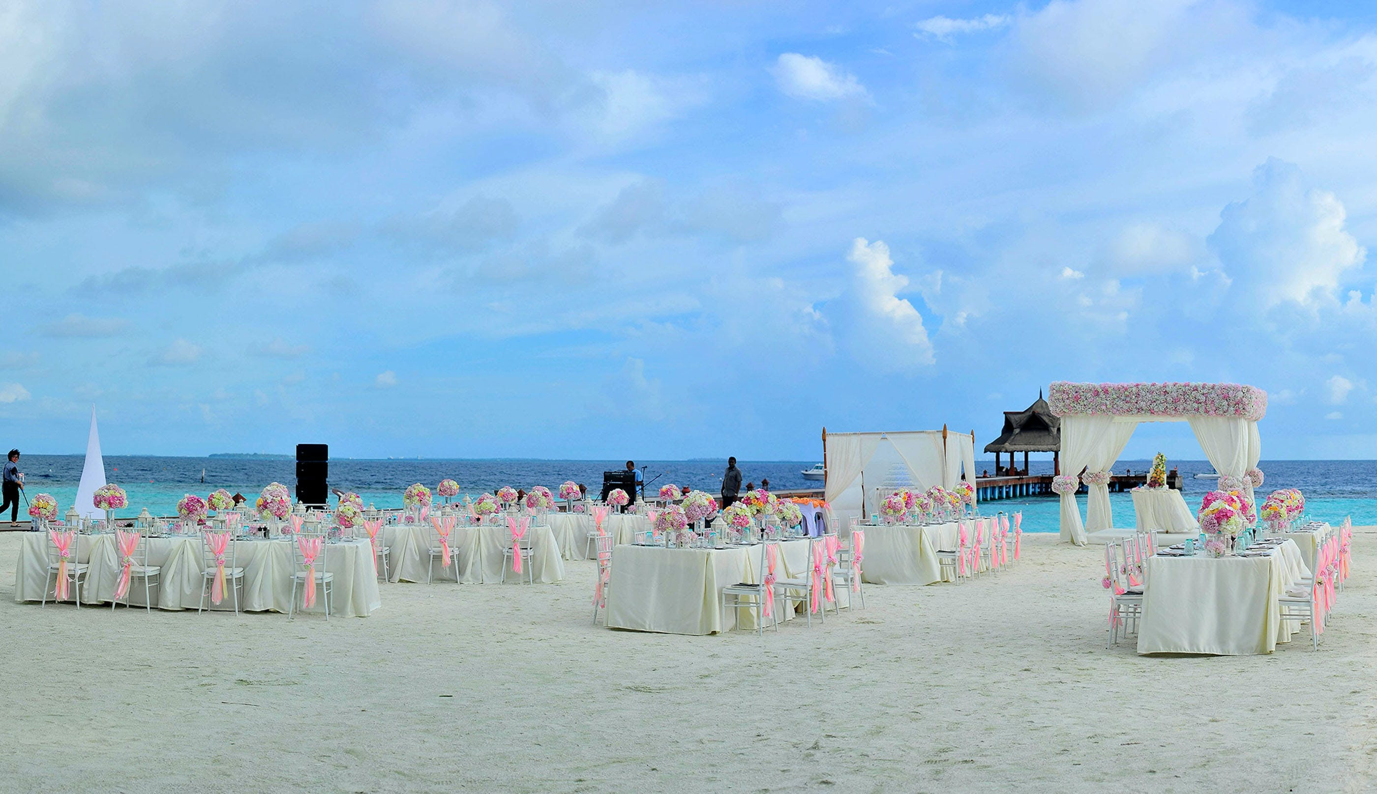 Covered Tables on Beach