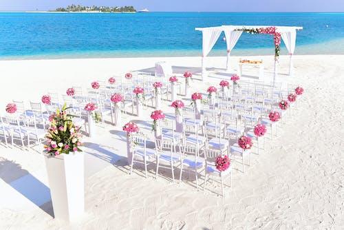 Foto profissional grátis de água, areia, beira-mar, cadeiras