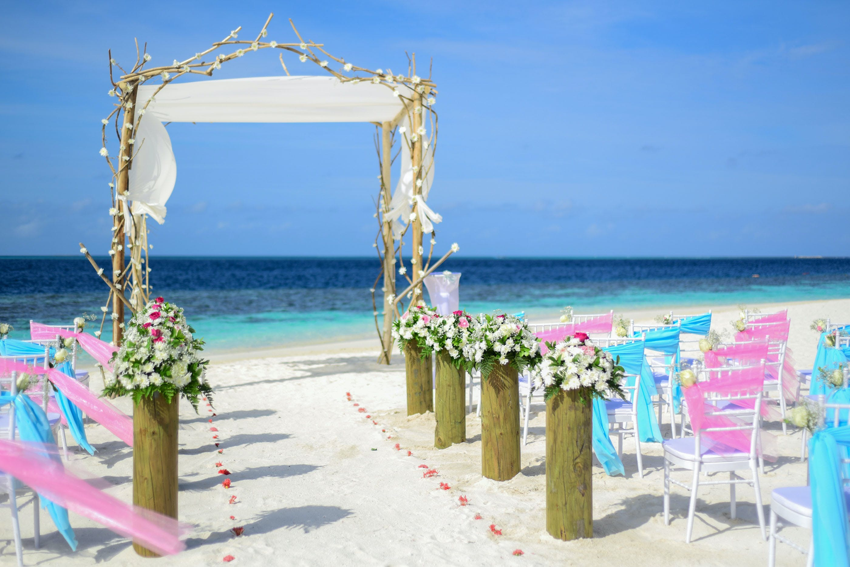 Beach Wedding Under Blue Sky