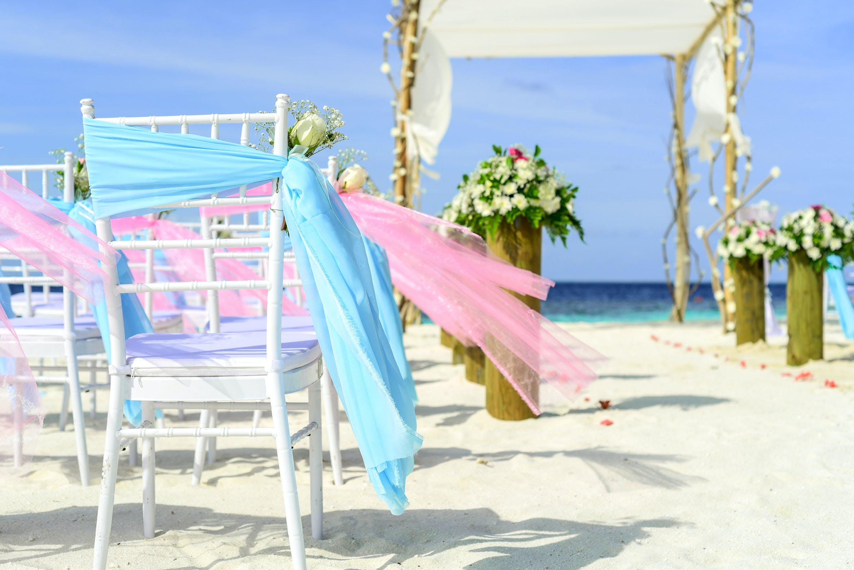 beach, beach wedding, chairs