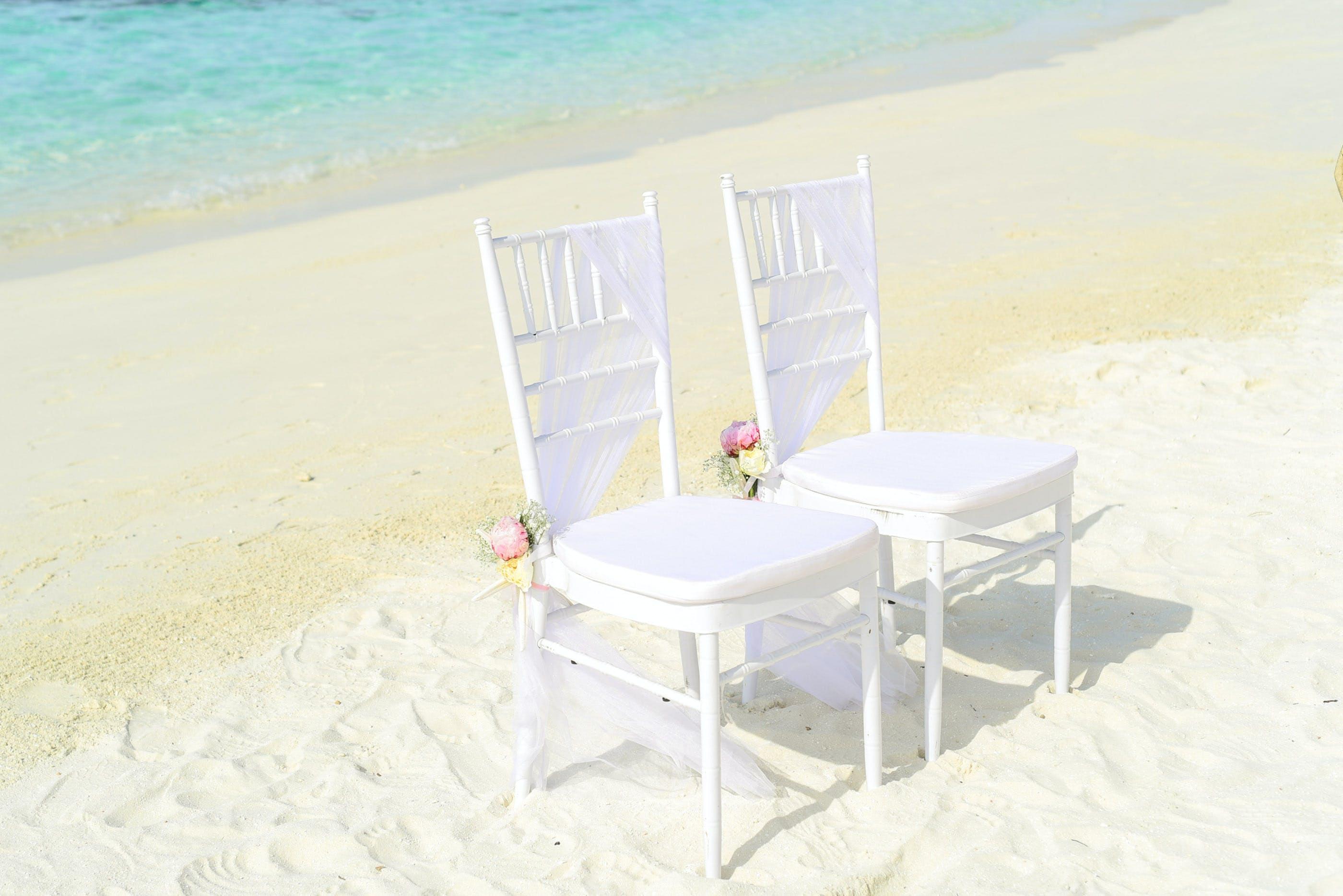 beach, chairs, flowers