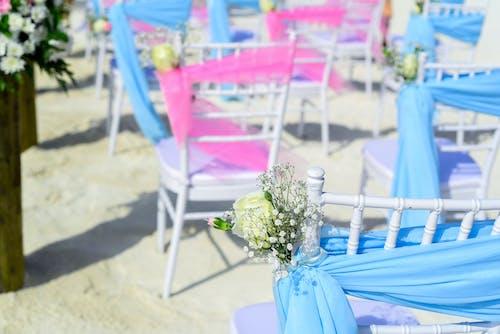 Foto d'estoc gratuïta de assolellat, blau, cadires, conjunt