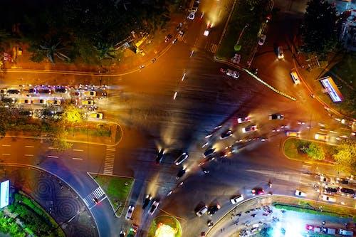 Bird's Eye View Of Roadway During Evening