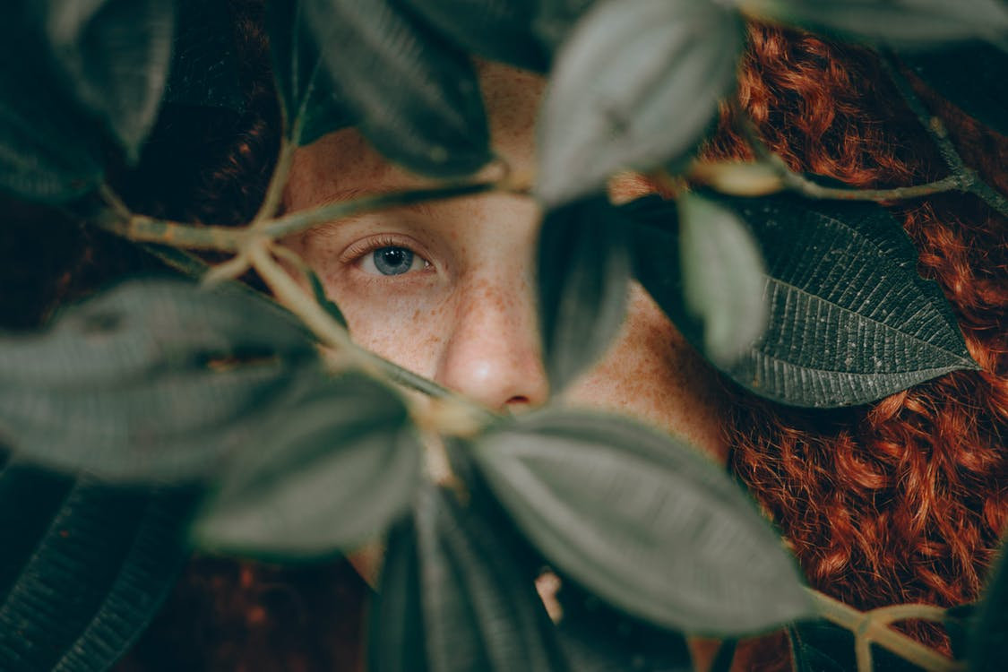 Close-Up Photo of Person Behind Leaves