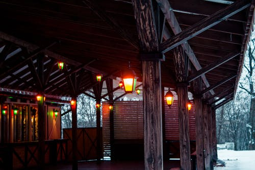 Brown Wooden Shed With Lights