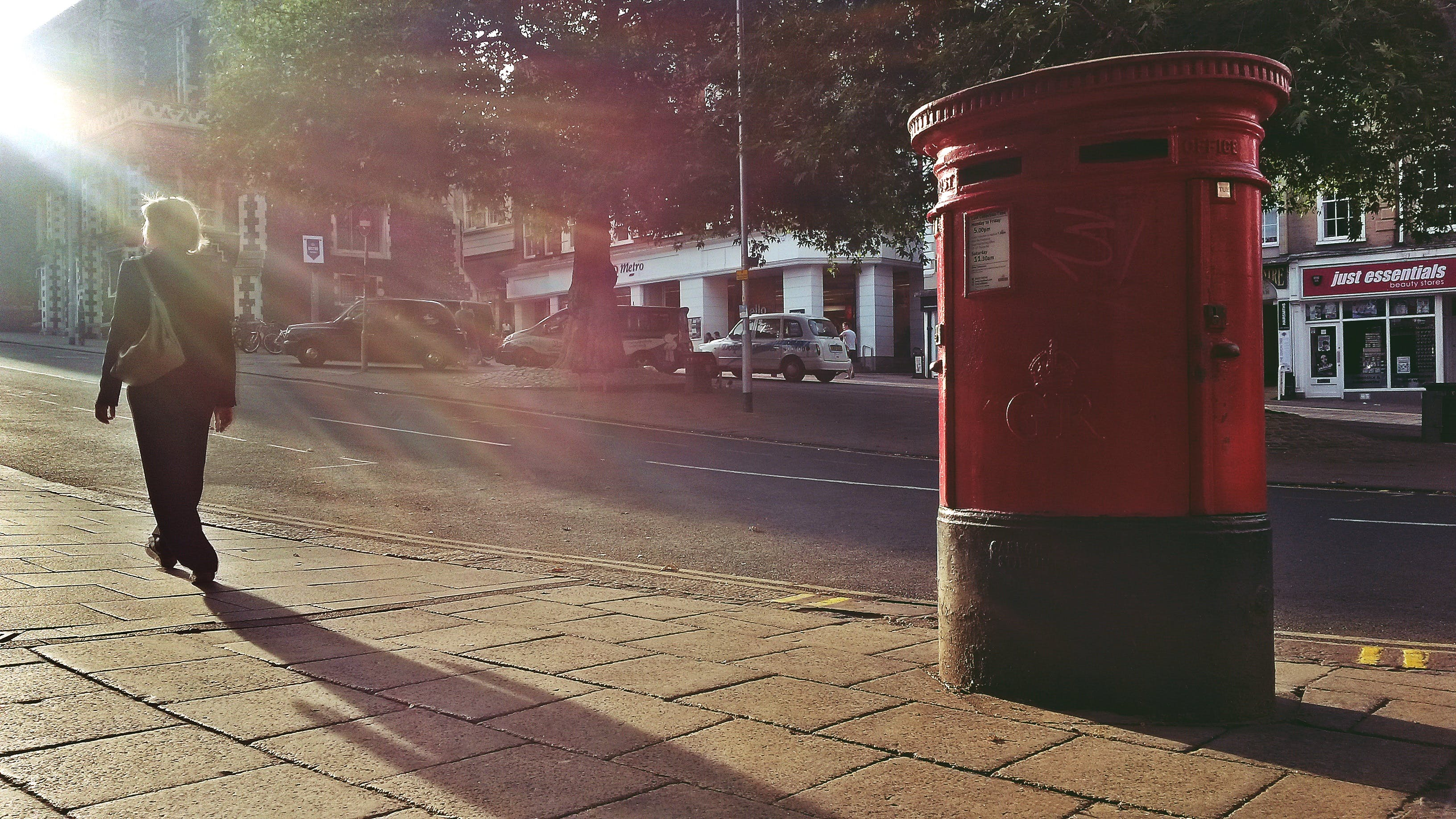 Free stock photo of busy street, people walking, post box, road