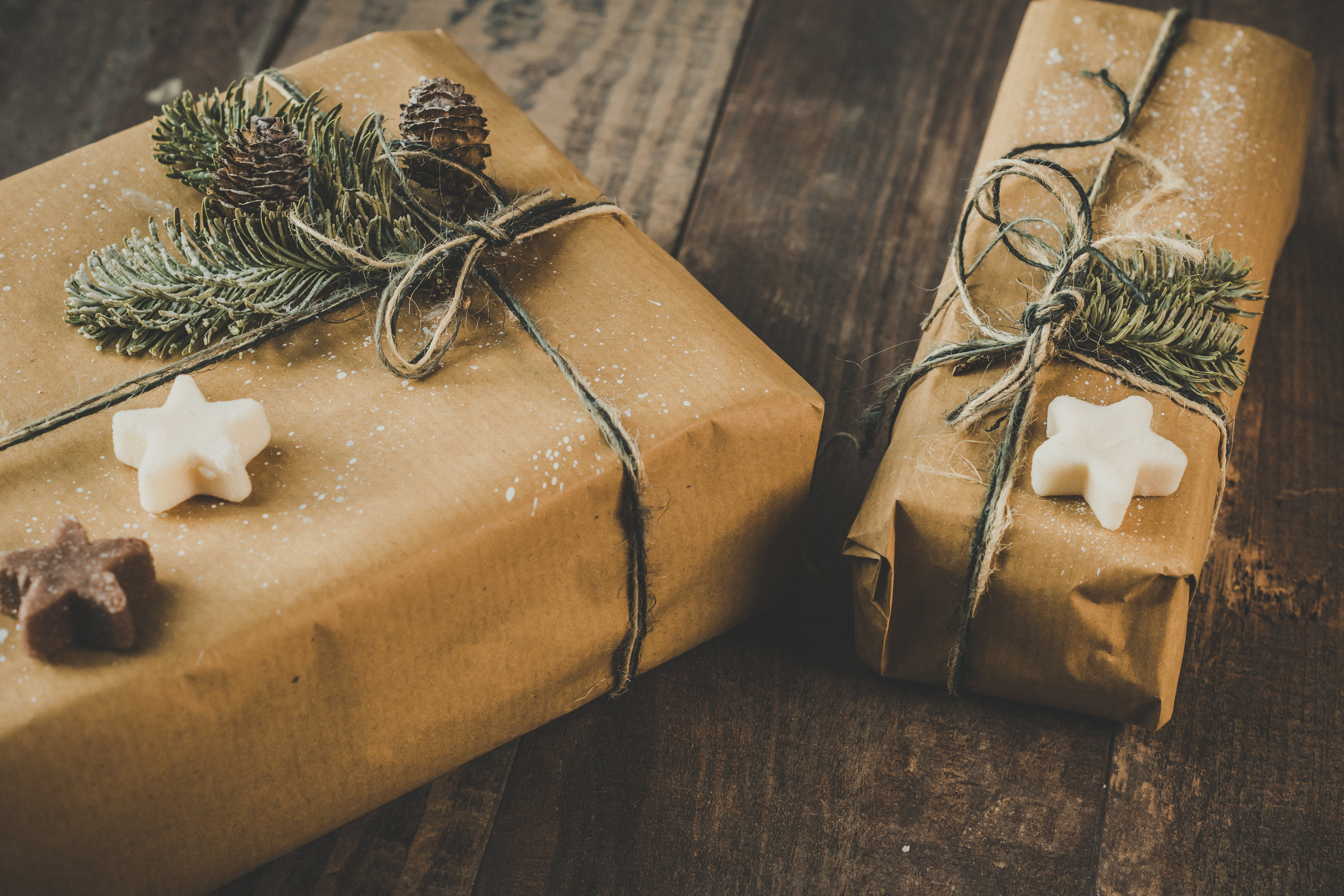 Free stock photo of brown paper, christmas, christmas background, christmas present