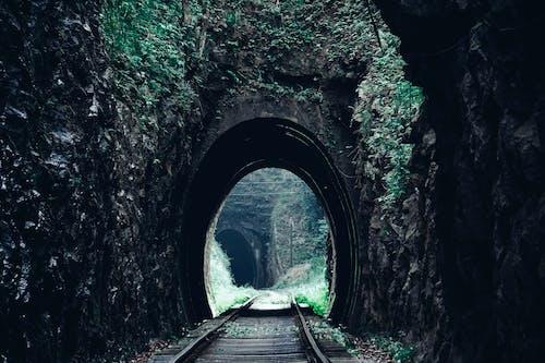 Foto profissional grátis de estrada de ferro, linha de trem, túnel, tunnel view