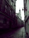 street, dark, building