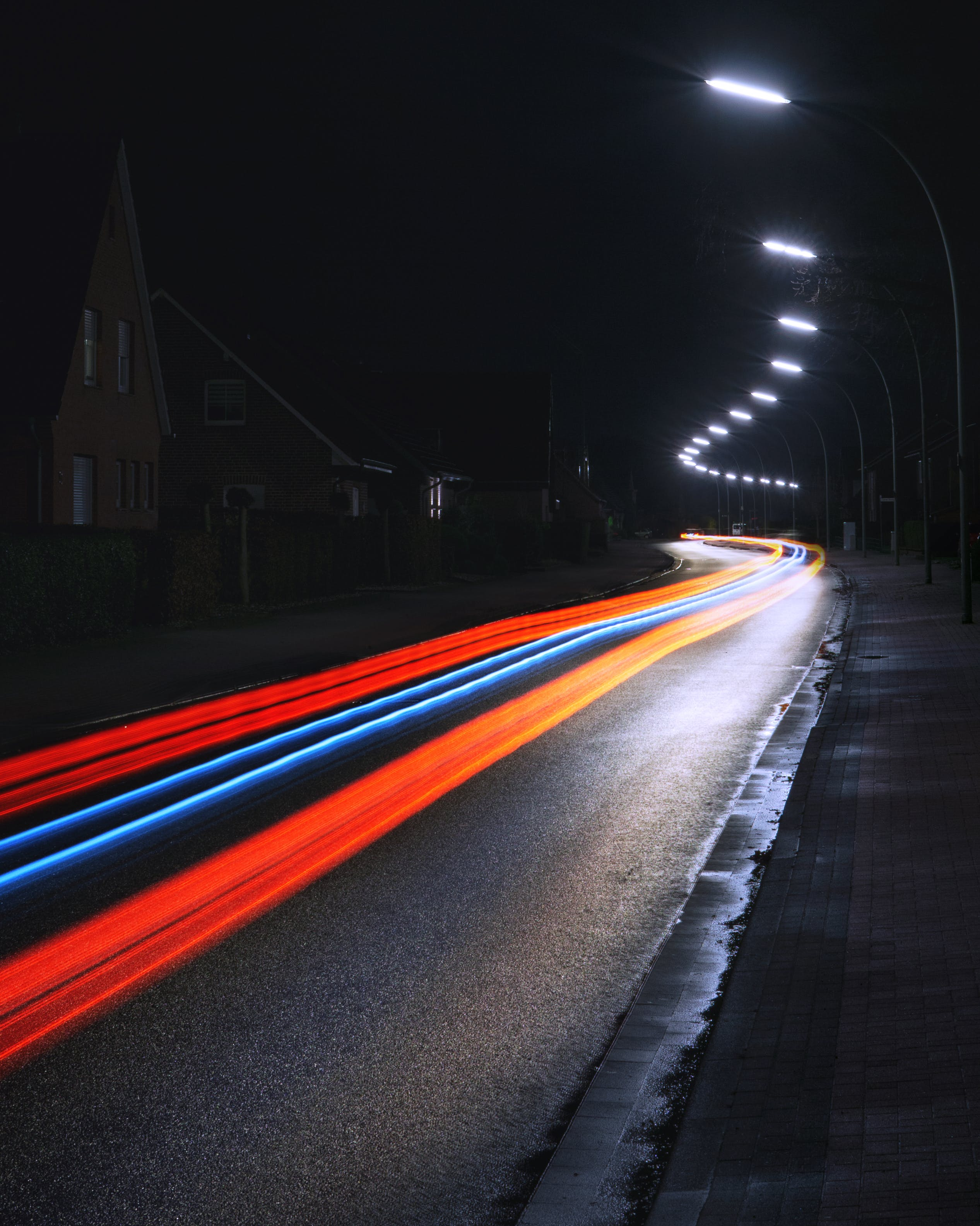 Time Lapse Photo of Road at Night