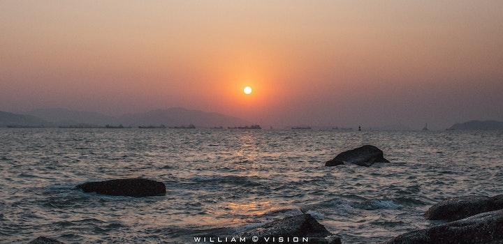 Free stock photo of sea, sunset, rock
