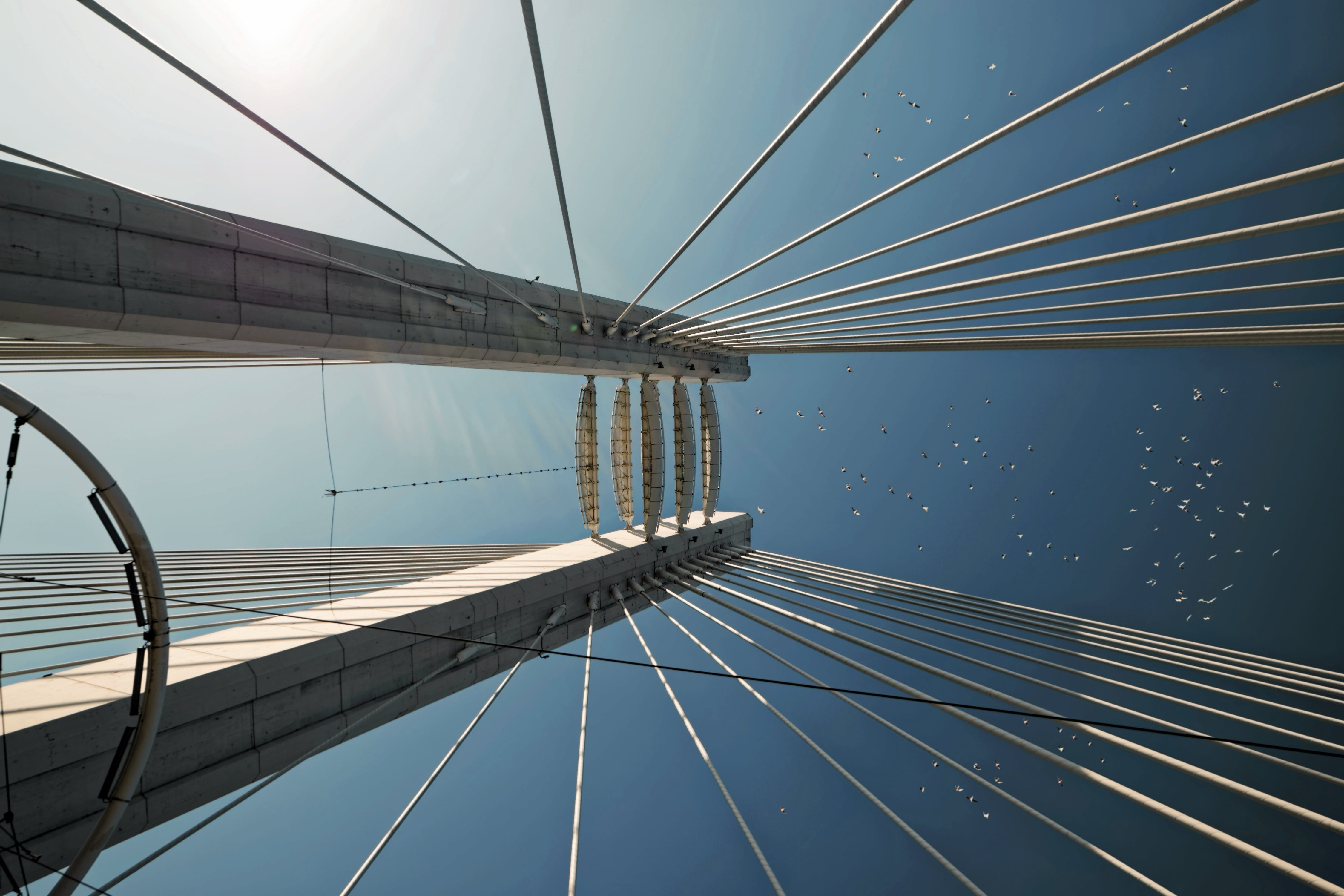 Low Angle Photography Of Suspension Bridge