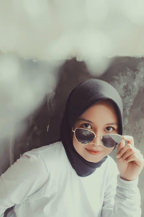 무슬림, 보고 있는, 선글라스