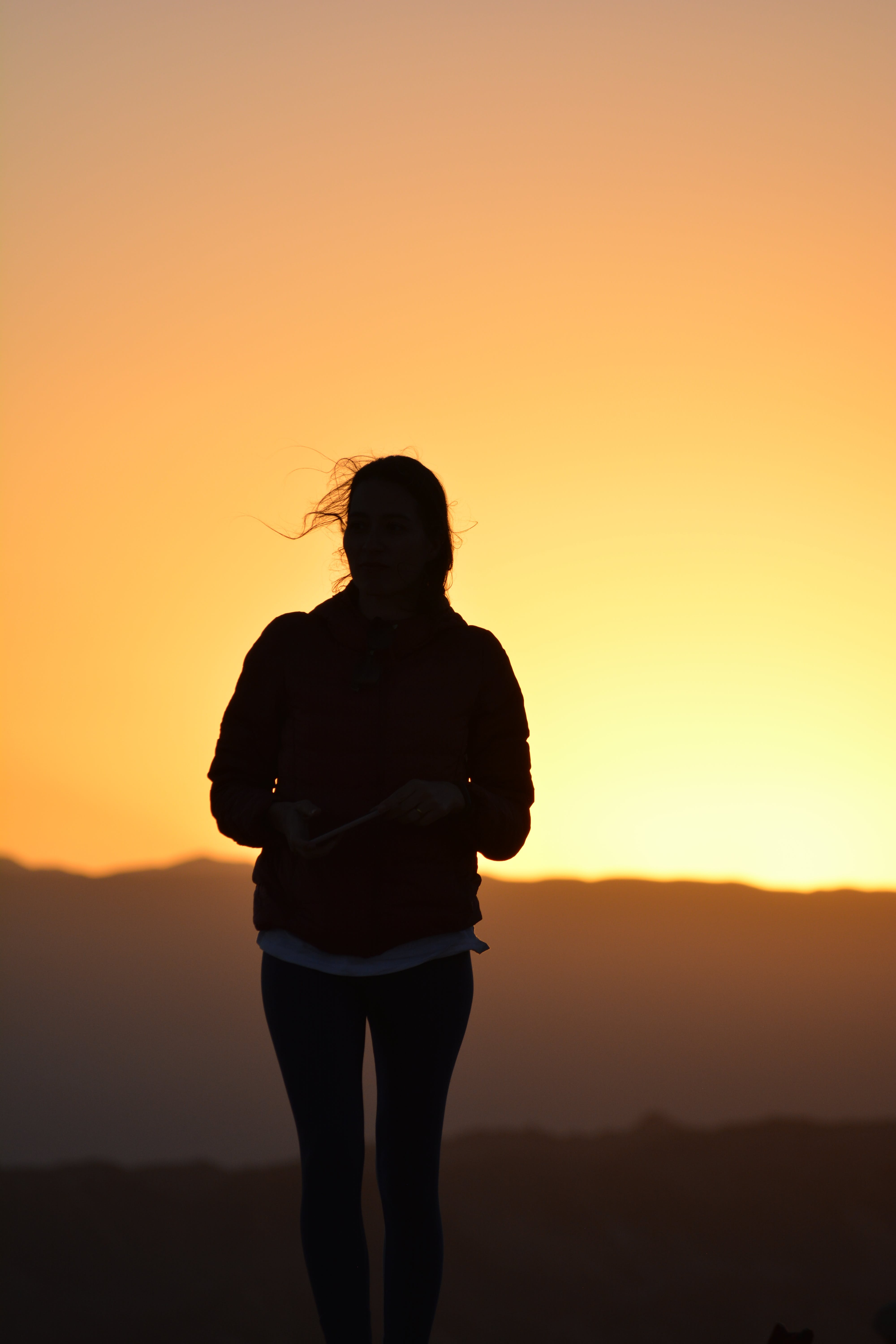 Silhouette Photo of Woman Standing During Golden Hour