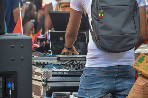 Free stock photo of backpack, dj, festival, mixing table