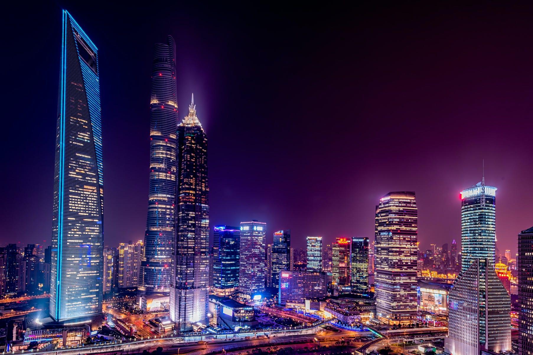 Kostenloses Stock Foto zu stadt, himmel, nacht, skyline