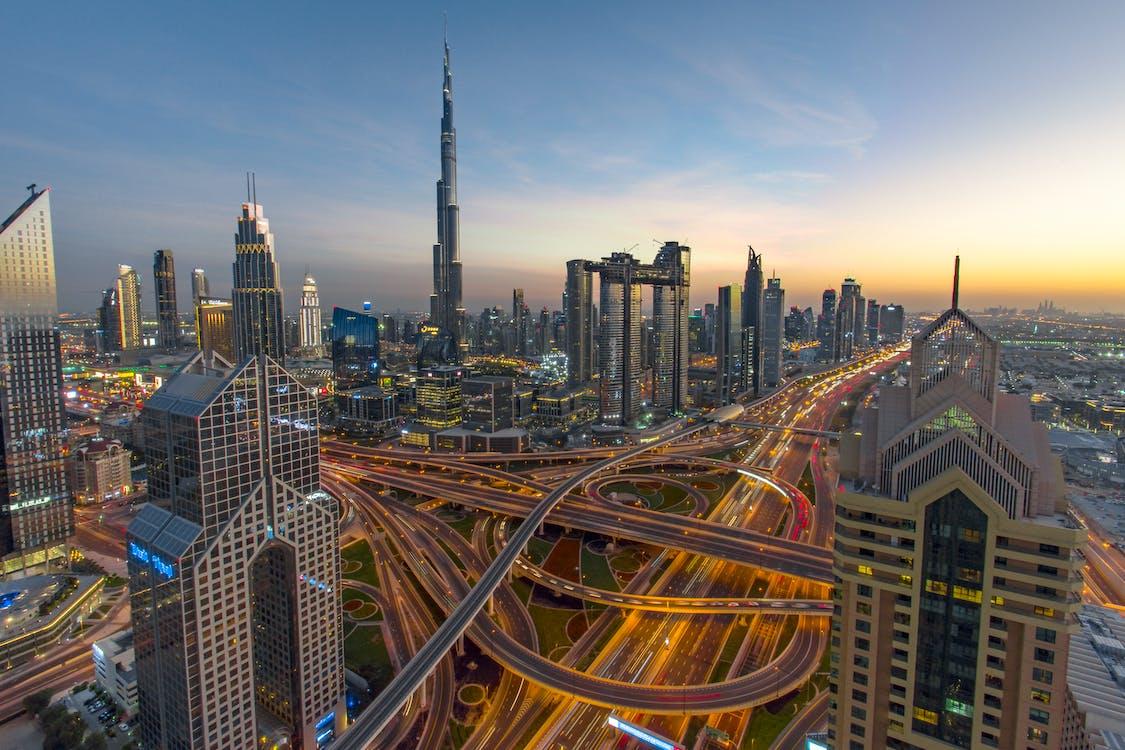Time Lapse Photography of Moving Vehicle on Burj Khalifa, Dubai