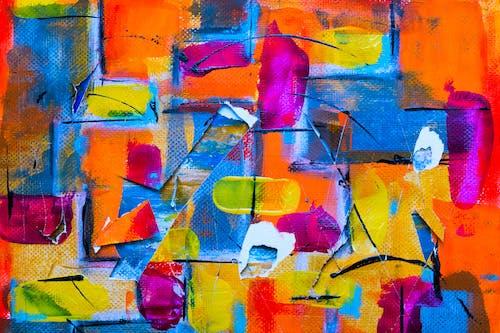 Kostenloses Stock Foto zu abstrakter expressionismus, abstraktes gemälde, acrylfarbe, bunt