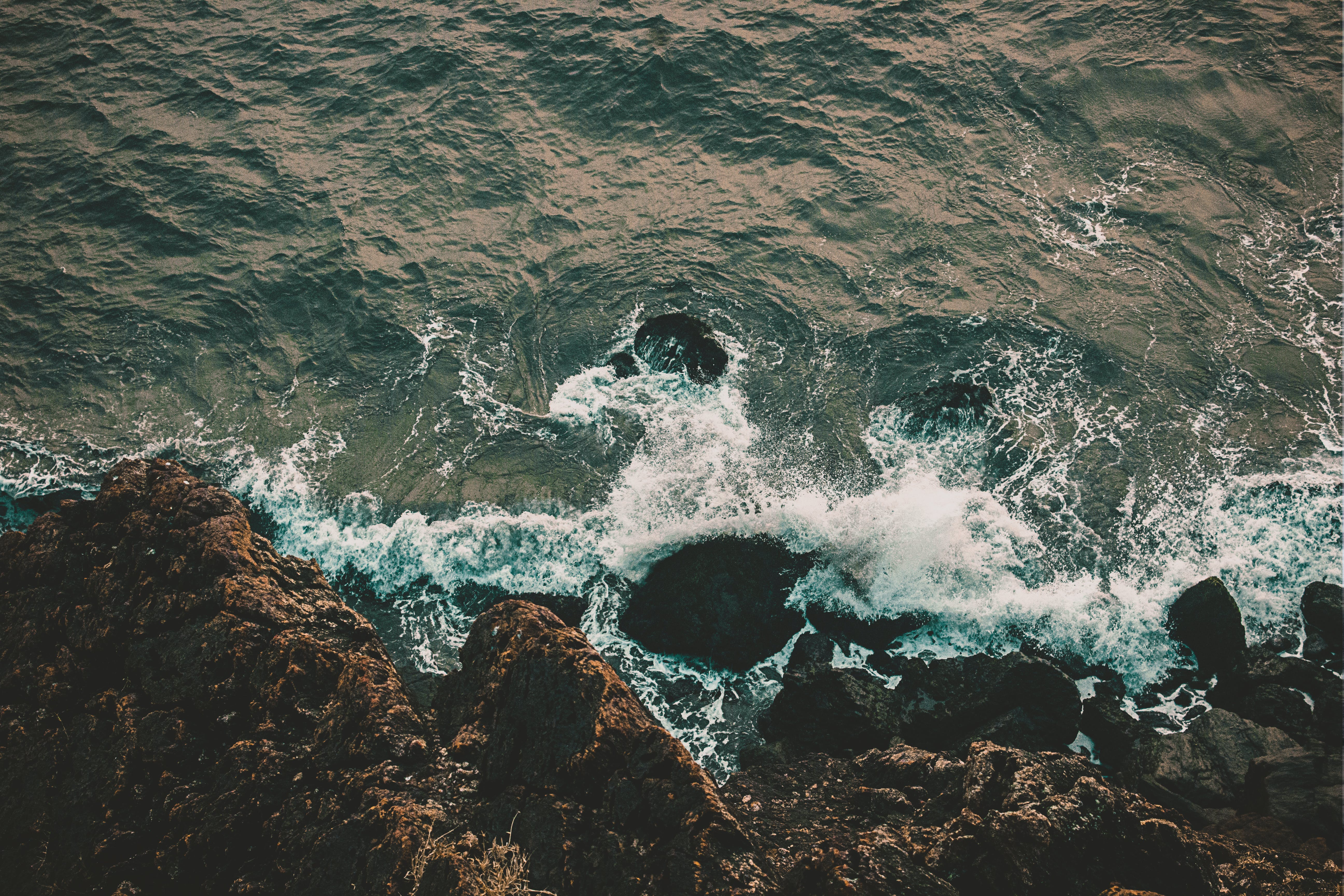 Top View Photo of Rocky Shore