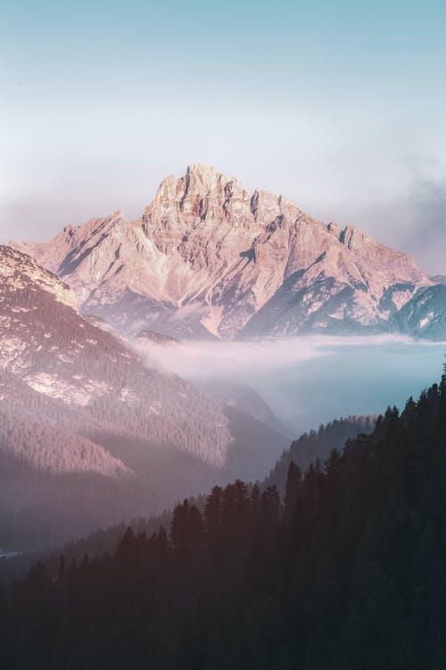 berg, dagsljus, dimma