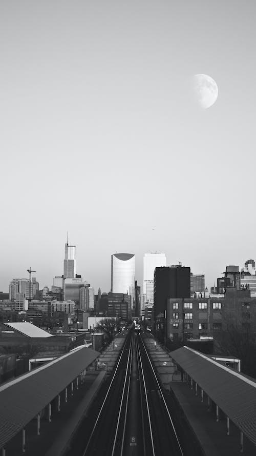 市中心, 月亮, 火車, 芝加哥 的 免費圖庫相片