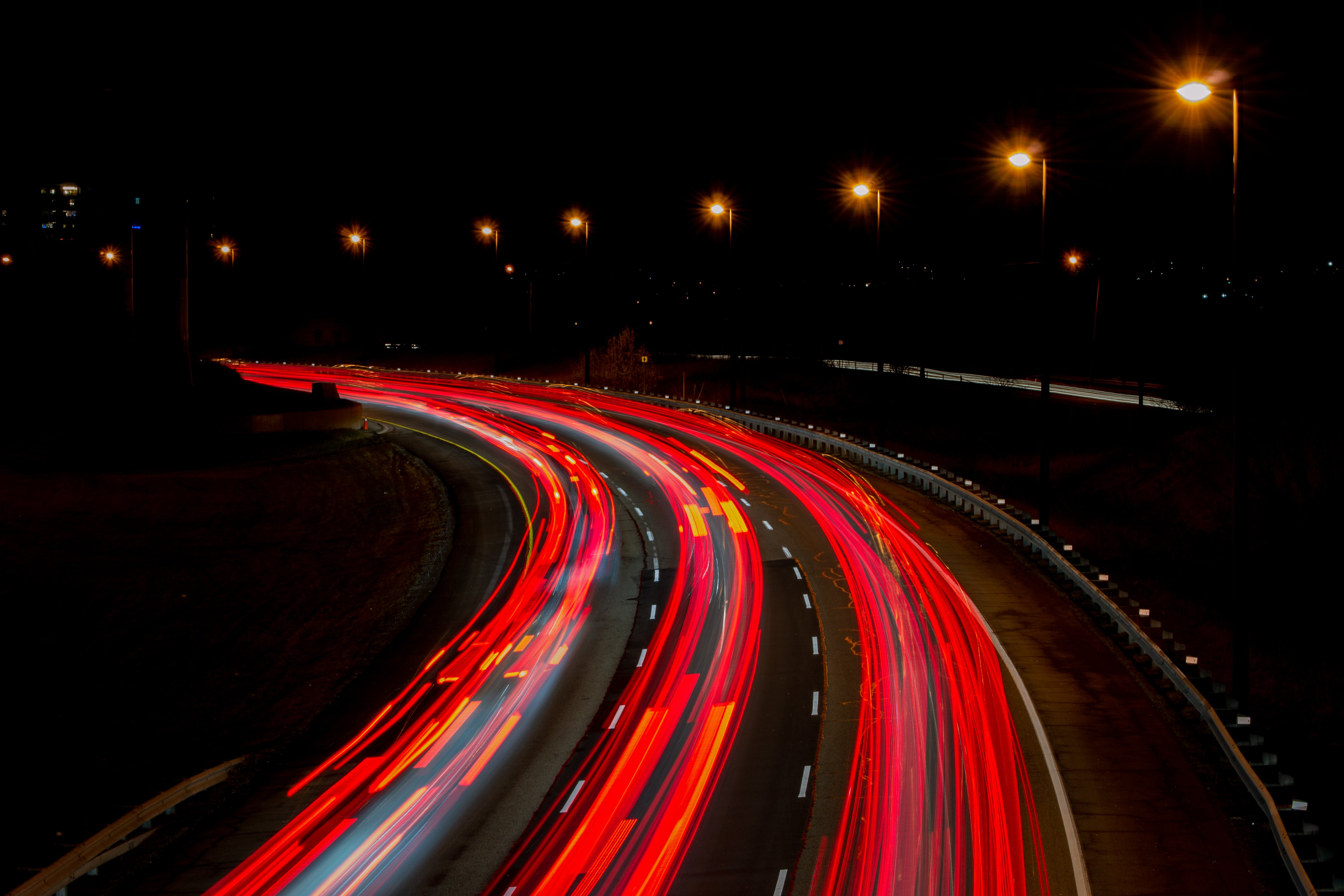 Long-Exposure Photography Of Road At Night