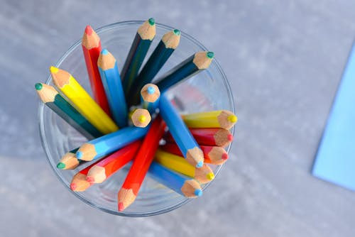 Pencils in Clear Glass Container