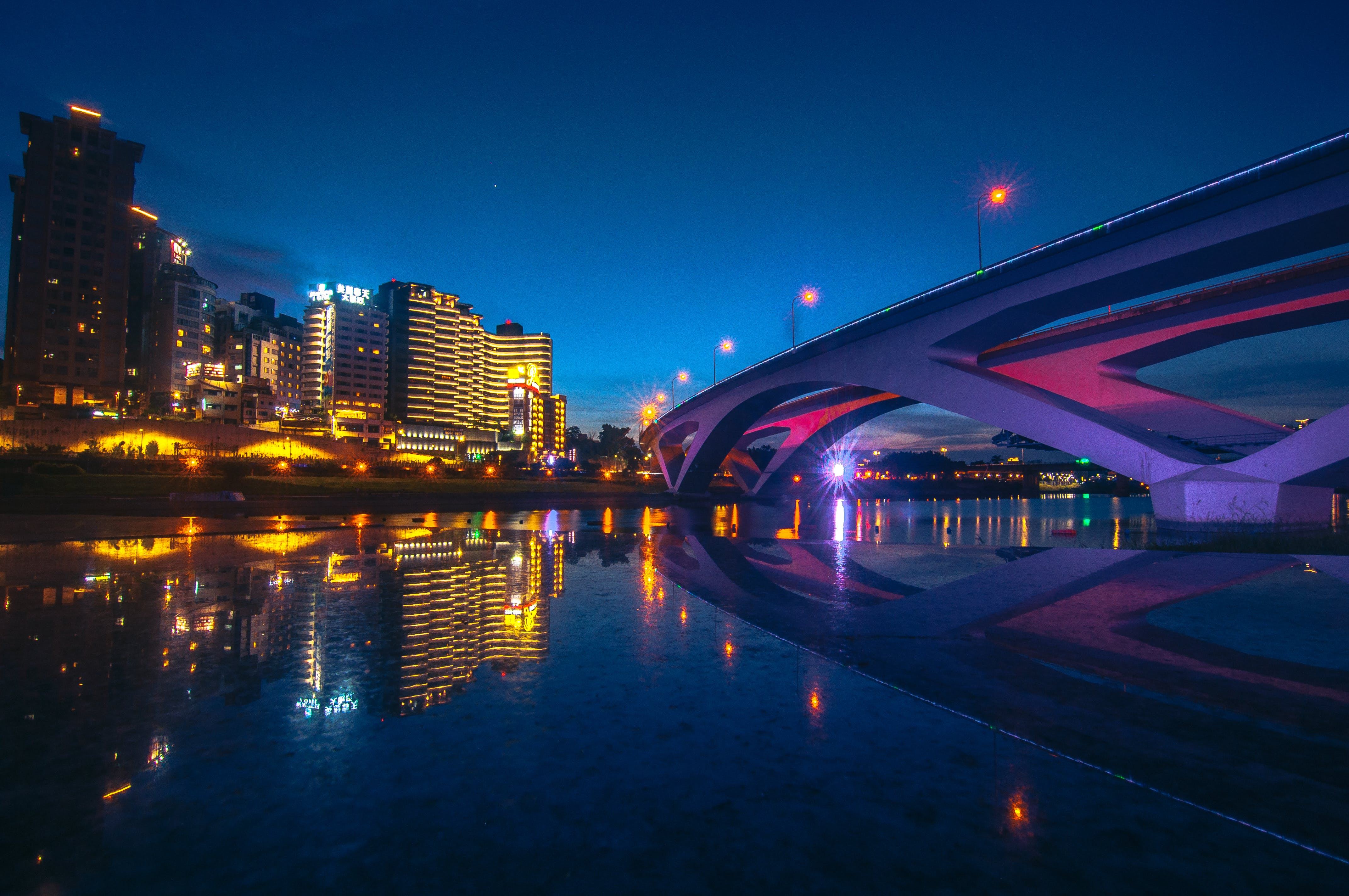 Time-lapse Photography Of Buildings And Bridge