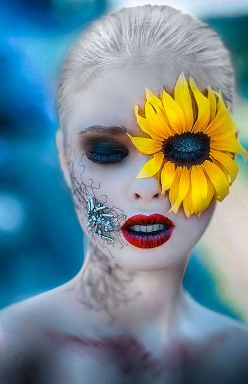 Free stock photo of beautiful woman, blue eyes, body art