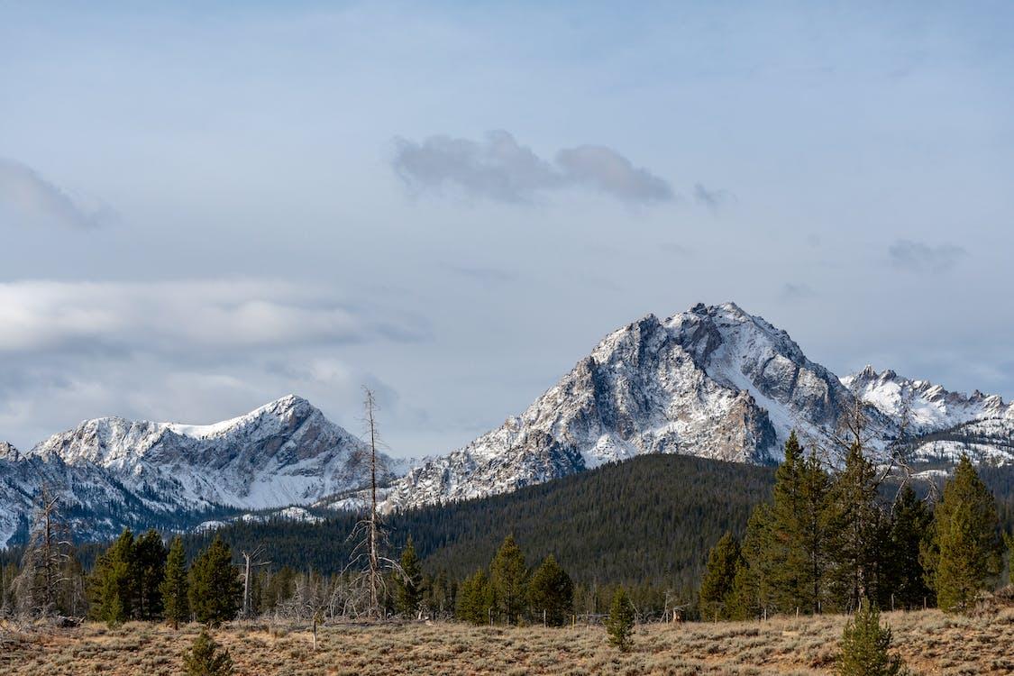 White Mountains Under White and Gray Sky