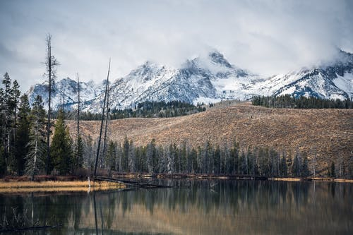 Photo of Lake Near Mountain Covered With Snow