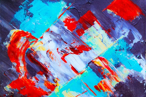 Red, Blue, White, and Yellow Abstract Painting