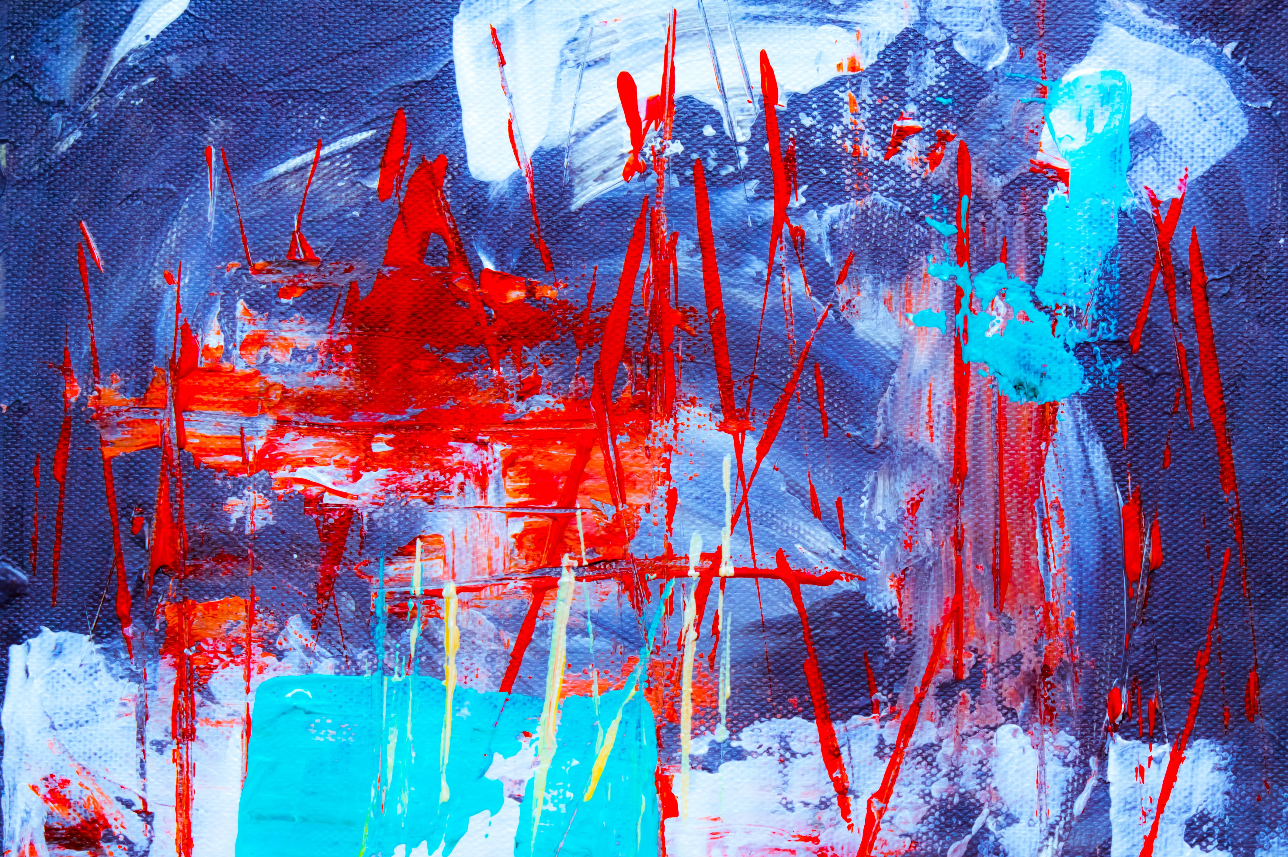 Red, Blue, and Teal Abstract Painting