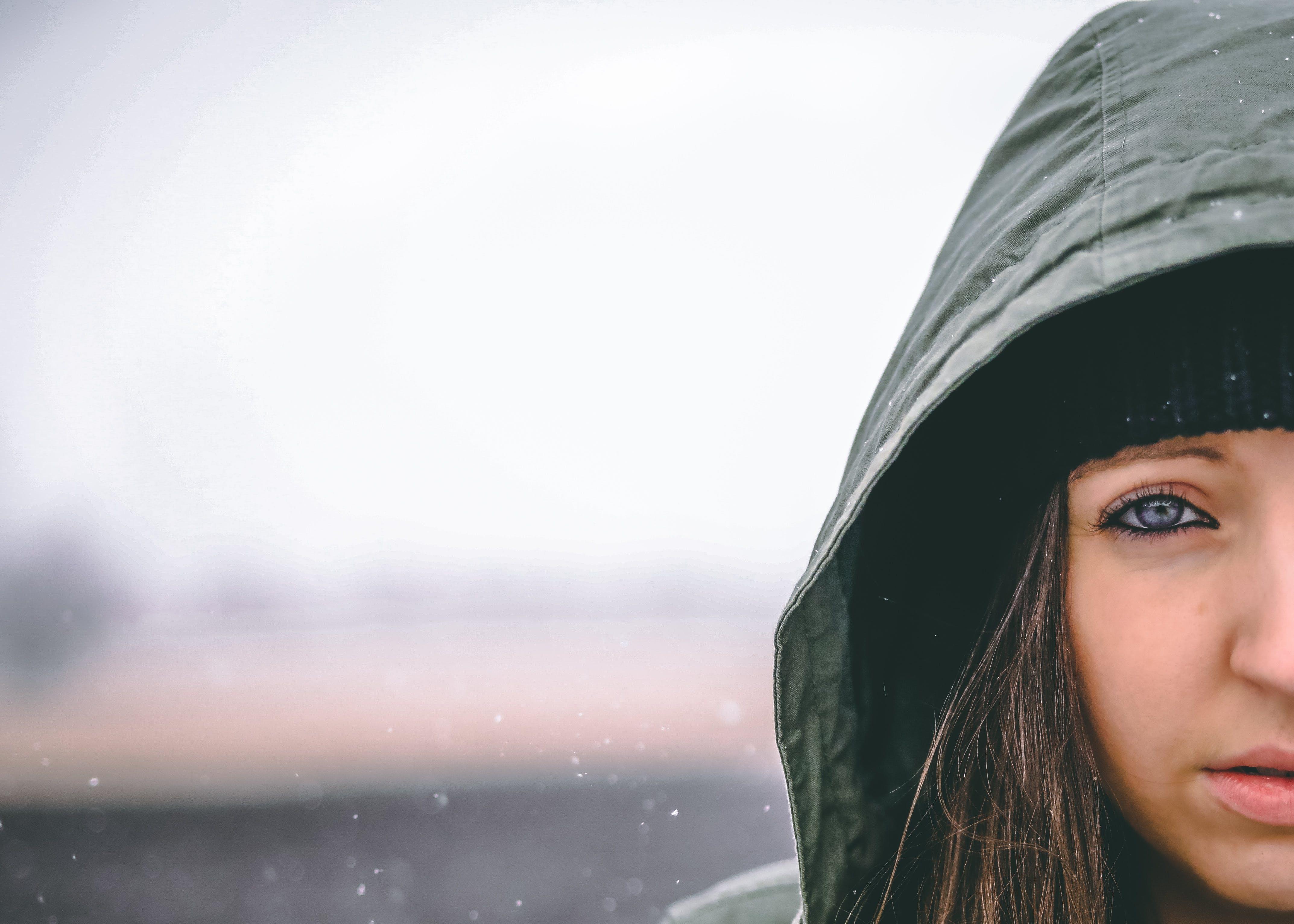 Woman Wearing Hooded Jacket