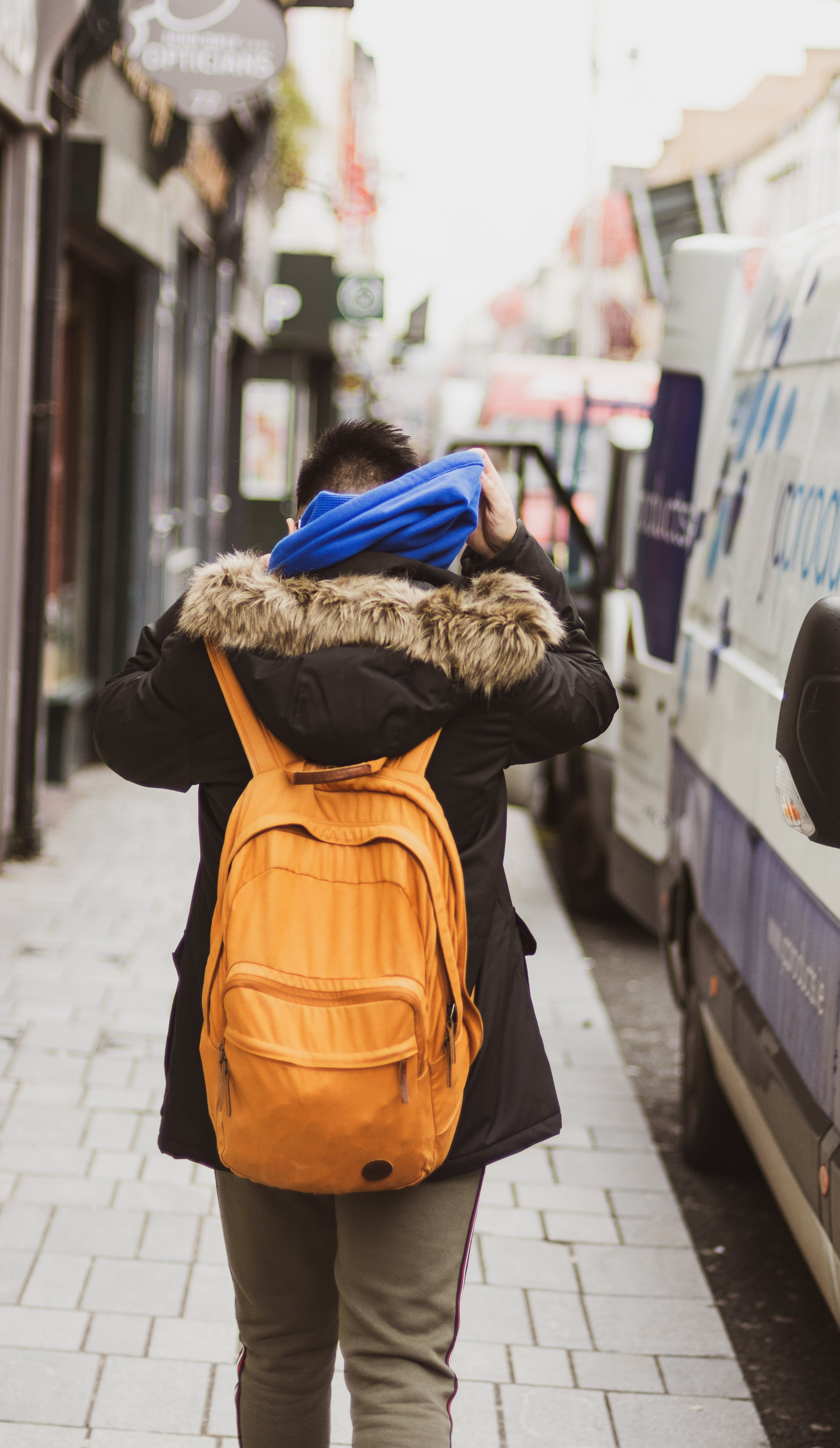 Free stock photo of backpack, blue, brown, candid
