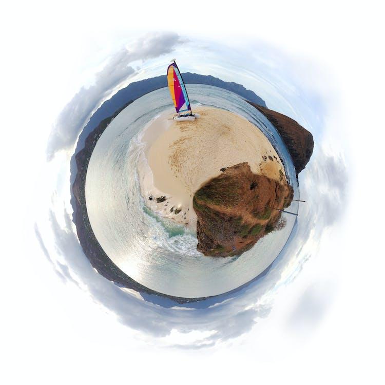 hawaii, lanikai, segelboot