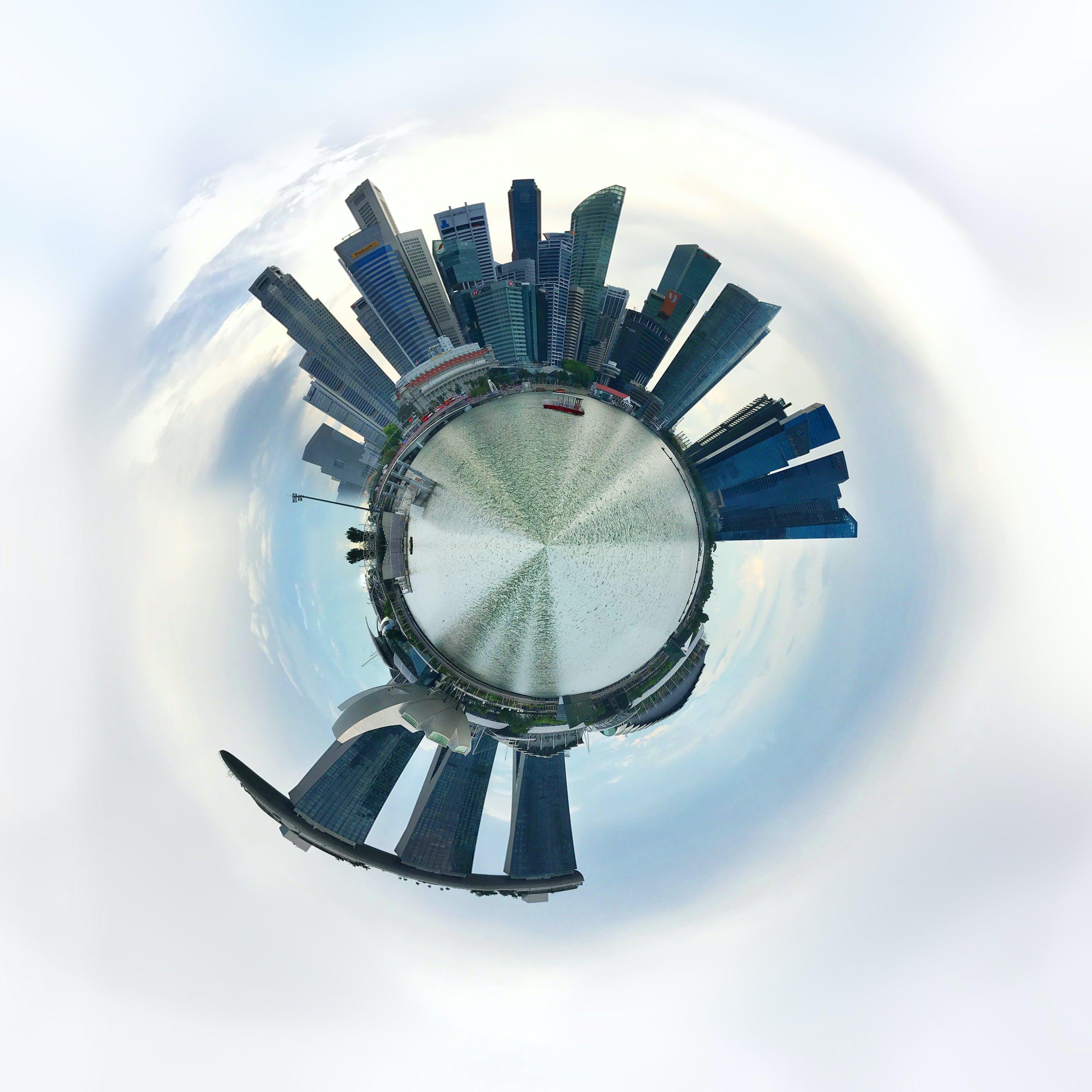 Free stock photo of buildings, singapore, Tiny planet