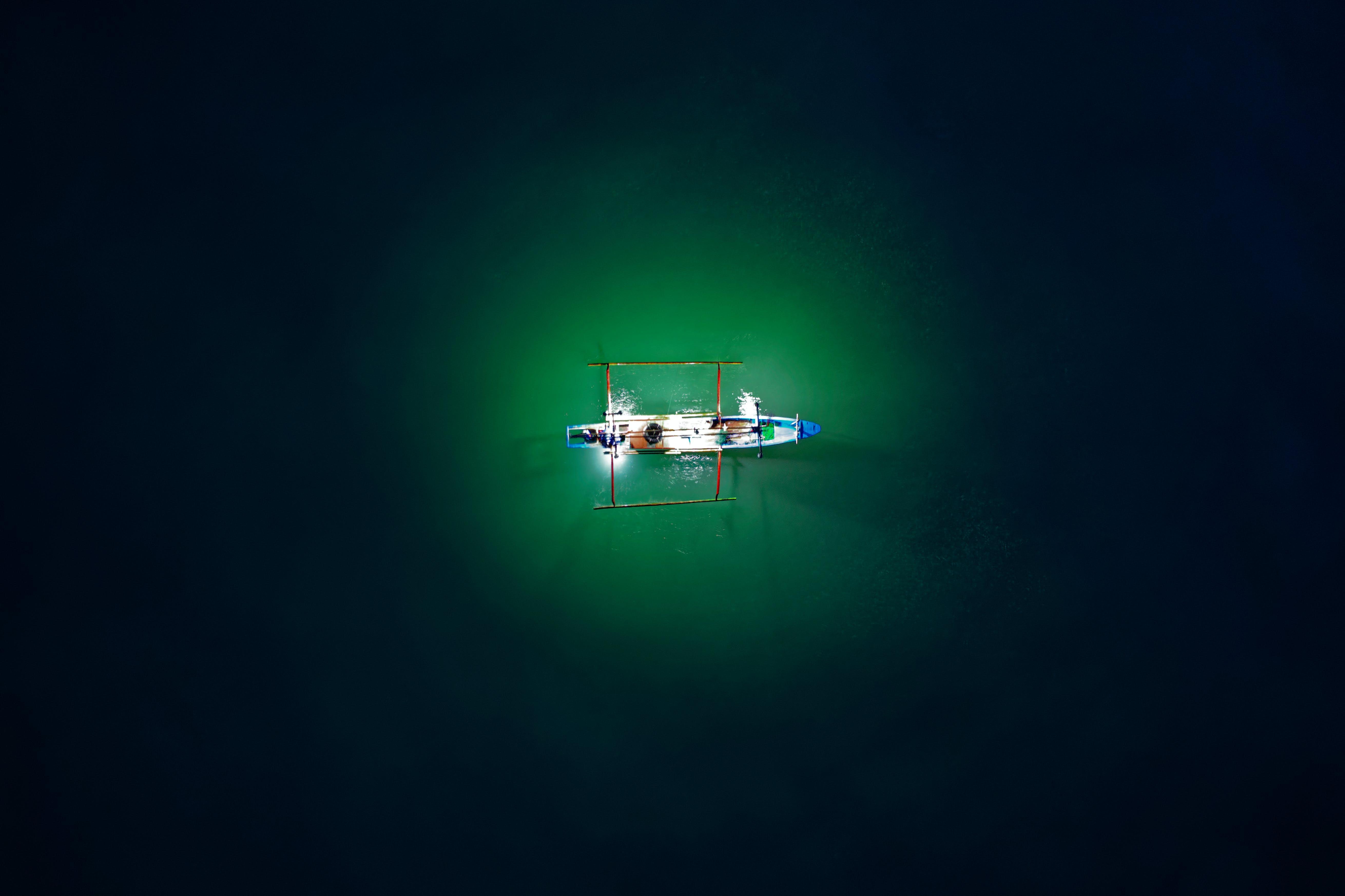 båt, drönarbilder, fågelperspektiv