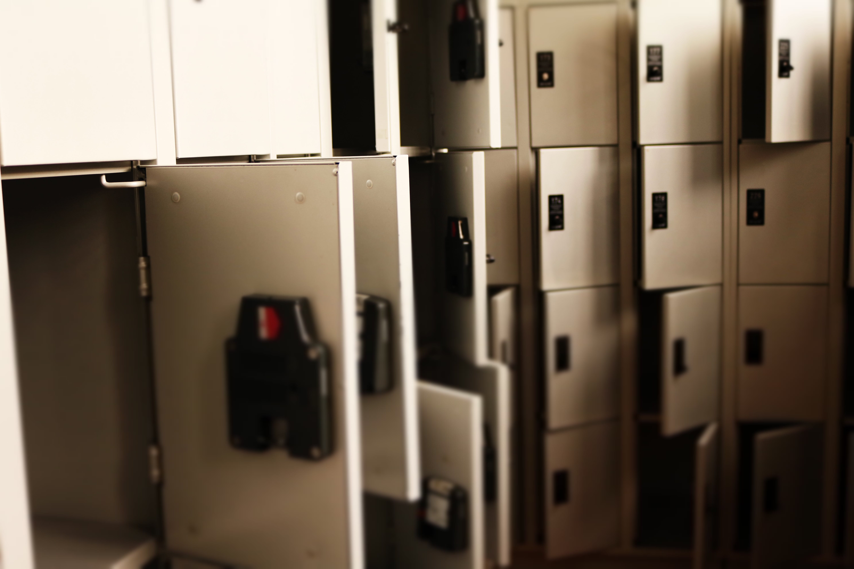 Grey Metal Lockers Is Open