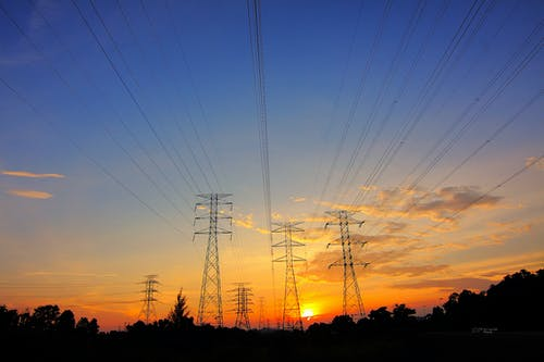 Gratis stockfoto met dageraad, krachtoverbrengingen, stroomdraden, zonsondergang