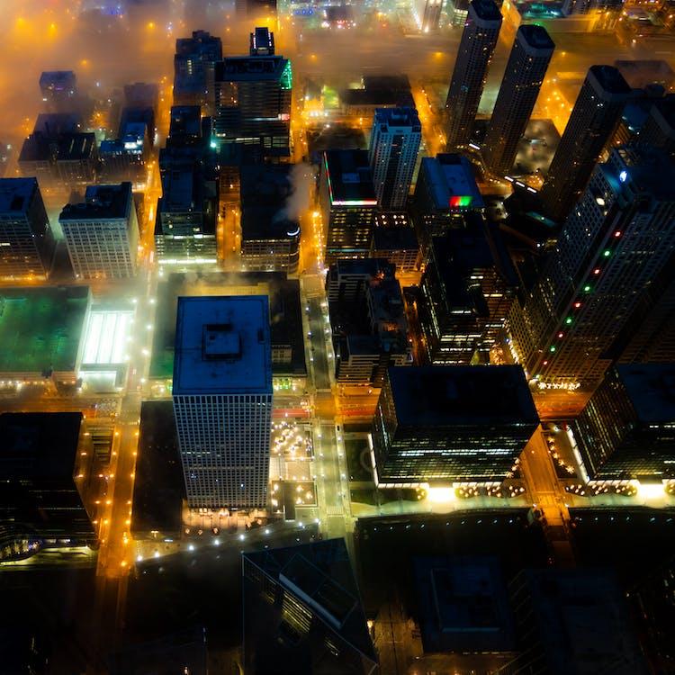 aften, arkitektur, belyst