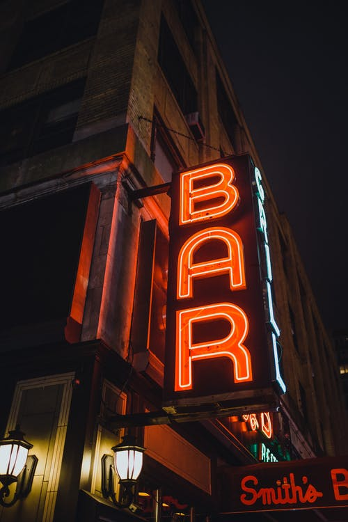 Bar Neon Light Signage at Night